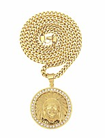 cheap -Men's AAA Cubic Zirconia Sculpture Pendant Necklace - Stainless Head Stylish, Hip-Hop Cool Gold 65.6 cm Necklace Jewelry 1pc For Street, Holiday