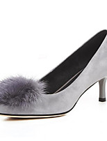 cheap -Women's Shoes Suede / Sheepskin Fall Comfort Heels Stiletto Heel Black / Gray
