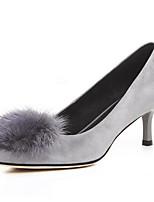 Недорогие -Жен. Обувь Замша / Овчина Осень Удобная обувь Обувь на каблуках На шпильке Черный / Серый