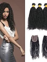 Недорогие -3 комплекта с закрытием Бразильские волосы Малазийские волосы Kinky Curly Не подвергавшиеся окрашиванию человеческие волосы Remy Подарки Человека ткет Волосы Сувениры для чаепития 8-20 дюймовый