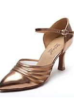Недорогие -Жен. Обувь для модерна Полиуретан На каблуках Толстая каблук Танцевальная обувь Черный / Коричневый