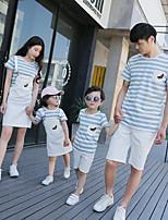 abordables -Adultos / Niños Mirada familiar A Cuadros Manga Corta Camiseta