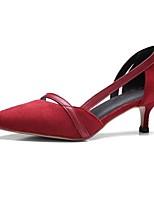 preiswerte -Damen Schuhe Kunststoff Frühling Sommer Pumps High Heels Kitten Heel-Absatz Spitze Zehe Schwarz / Rot