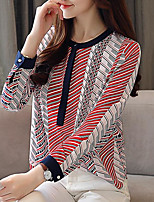 cheap -Women's Business / Basic Blouse - Striped Black & Red, Pleated / Tassel / Patchwork
