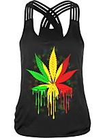 cheap -Women's Going out Tank Top - Plants Backless / Cut Out / Print Strap
