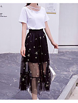 cheap -Women's Vintage Puff Sleeve Set - Solid Colored, Tassel Skirt