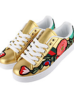 cheap -Women's Shoes PU(Polyurethane) Spring & Summer Vulcanized Shoes Sneakers Flat Heel Round Toe Stitching Lace White / Black / Yellow