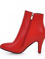 baratos -Mulheres Sapatos Couro Ecológico Primavera / Outono Conforto / Botas da Moda Botas Salto Agulha Botas Curtas / Ankle Branco / Preto / Vermelho