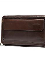 cheap -Men's Bags Cowhide Wallet Zipper Coffee / Brown