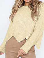 cheap -Women's Long Sleeve Loose Pullover - Solid Colored / Fall / Winter