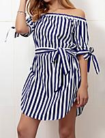 preiswerte -Damen Grundlegend Hülle Kleid Gestreift Mini / Asymmetrisch