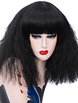 cheap -Wig Accessories / Synthetic Wig Wavy Layered Haircut Synthetic Hair 12-12 inch Fashionable Design / Cosplay Black / White Wig Women's Short Capless