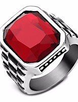 cheap -Men's Synthetic Ruby Vintage Style / Solitaire Ring - Titanium Steel Creative Stylish, Vintage, European 7 / 8 / 9 Wine For Daily / Street