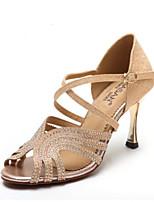 baratos -Mulheres Sapatos de Dança Latina Cetim Salto Salto Alto Magro Sapatos de Dança Dourado / Azul