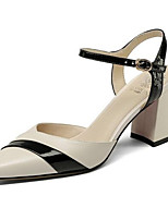 cheap -Women's Shoes Nappa Leather Summer Comfort Heels Chunky Heel Black