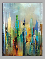 cheap -Oil Painting Hand Painted - Abstract / Architecture Modern Canvas
