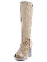 abordables -Femme Chaussures Maille / Polyuréthane Printemps été Bottes à la Mode Bottes Talon Bottier Bout ouvert Bottes Blanc / Noir / Beige / Soirée & Evénement