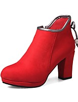 cheap -Women's Shoes Faux Leather Winter Fashion Boots Boots Chunky Heel Round Toe Booties / Ankle Boots Black / Red / Party & Evening