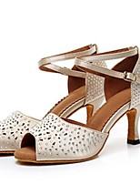 baratos -Mulheres Sapatos de Dança Latina / Dança de Salão Cetim Têni Salto Alto Magro Sapatos de Dança Preto / Bege / Cinzento