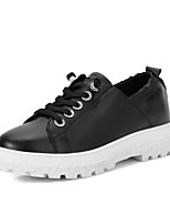 cheap -Women's Shoes Nappa Leather Spring / Fall Comfort Sneakers Flat Heel Round Toe White / Black