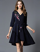 cheap -SHIHUATANG Women's Vintage / Sophisticated A Line Dress - Floral Tassel / Embroidered