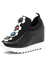cheap -Women's Shoes Nappa Leather Summer Comfort Flats Creepers Closed Toe White / Black