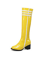 cheap -Women's Shoes PU(Polyurethane) Winter Fashion Boots Boots Chunky Heel Round Toe Knee High Boots Black / Yellow / Dark Purple / Party & Evening
