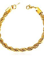 abordables -Homme Corde Bracelets - Acier inoxydable Menottes Mode Bracelet Or / Noir / Argent Pour Cadeau / Quotidien