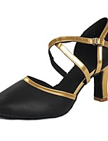 preiswerte -Damen Schuhe für modern Dance Lackleder Sandalen / Absätze Schnalle Kubanischer Absatz Maßfertigung Tanzschuhe Schwarz und Gold