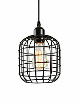 cheap -Vintage Black Metal Cage Loft Mini Pendant Lights Living Room Dining Room Hallway Cafe Bars Light Fixture Painted Finish