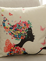 cheap -1 pcs Cotton / Linen Pillow, Floral Print Artistic Style / Modern / Contemporary