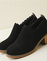 cheap -Women's Shoes Suede / Cowhide Spring / Summer Basic Pump Heels Chunky Heel Closed Toe Black / Yellow