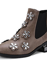 cheap -Women's Shoes PU(Polyurethane) Spring &  Fall Bootie Boots Block Heel Pointed Toe Booties / Ankle Boots Rhinestone Black / Brown
