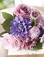 baratos -Flores artificiais 1 Ramo Clássico Estiloso Rosas Flor de Mesa