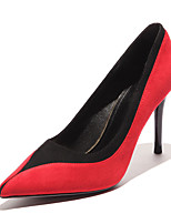 preiswerte -Damen Schuhe Wildleder / PU Herbst Pumps High Heels Stöckelabsatz Spitze Zehe Rot / Mandelfarben / Party & Festivität
