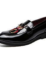 cheap -Men's Patent Leather / Cowhide Summer Comfort Loafers & Slip-Ons Color Block Black