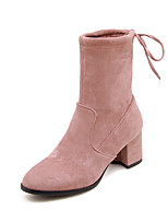 cheap -Women's Shoes Faux Leather / Elastic Fabric Fall & Winter Fashion Boots Boots Chunky Heel Round Toe Booties / Ankle Boots Gray / Yellow / Pink