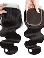 Недорогие -Монгольские волосы 4x4 Закрытие / Бесплатно Part Волнистый Бесплатный Часть Швейцарское кружево Натуральные волосы Жен. Гладкие / Натуральный / обожаемый
