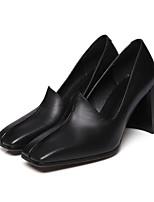 preiswerte -Damen Schuhe Leder Frühling / Herbst Komfort / Pumps High Heels Blockabsatz Weiß / Schwarz / Marron