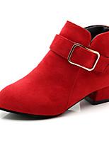 Недорогие -Девочки Обувь Полиуретан Наступила зима Крошечные Каблуки для подростков Ботинки Для прогулок для Для подростков Красный / Розовый / Хаки