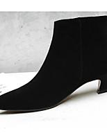 cheap -Women's Shoes Sheepskin Spring &  Fall Comfort / Bootie Boots Kitten Heel Booties / Ankle Boots Black / Gray / Light Brown