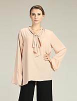 Недорогие -Жен. Шнуровка Блуза Классический Однотонный