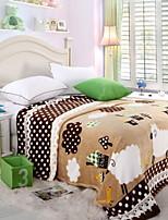 Недорогие -Коралловый флис / Супер мягкий, Активный краситель Геометрический принт / Мультипликация Хлопок / полиэфир одеяла