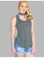 cheap -Women's Tank Top - Solid Colored / Striped Cut Out