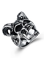 cheap -Men's Vintage Style / 3D Band Ring / Statement Ring - Titanium Steel Creative Unique Design, Vintage, Punk 8 / 9 Black For Daily / Street