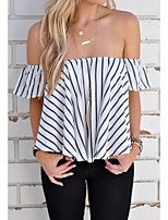 cheap -Women's Going out Cotton Shirt - Striped Boat Neck
