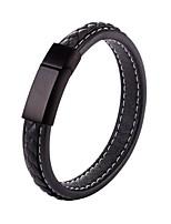abordables -Homme Chaîne unique Bracelets en cuir - Acier inoxydable Mode Bracelet Noir / Marron Pour Cadeau / Quotidien
