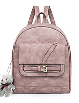 Недорогие -Жен. Мешки PU рюкзак Однотонные Черный / Розовый / Серый