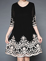 preiswerte -Damen Grundlegend Hülle Kleid Solide / Blumen Übers Knie