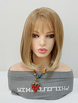cheap -Synthetic Wig Straight Bob Haircut Synthetic Hair Middle Length Women / Ombre Hair / With Bangs Black Wig Women's Mid Length Capless